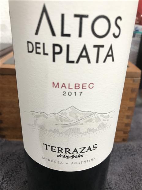 2017 Terrazas De Los Andes Malbec Altos Del Plata Argentina