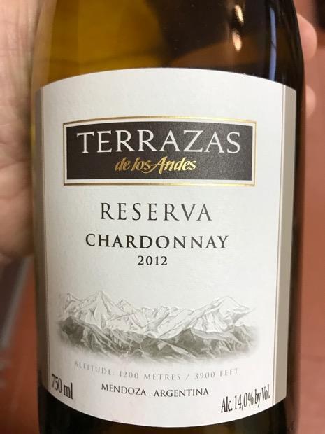 2012 Terrazas De Los Andes Chardonnay Reserva Argentina