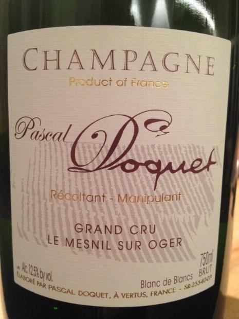 1995 Pascal Doquet Champagne Grand Cru Blanc de Blancs Le ...