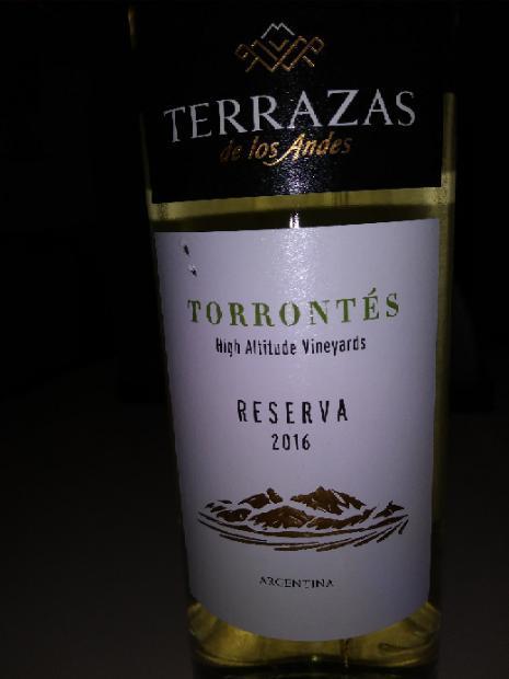 2016 Terrazas De Los Andes Torrontés Reserva Argentina