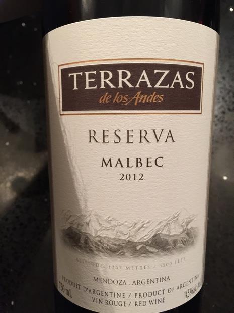 2012 Terrazas De Los Andes Malbec Reserva Argentina