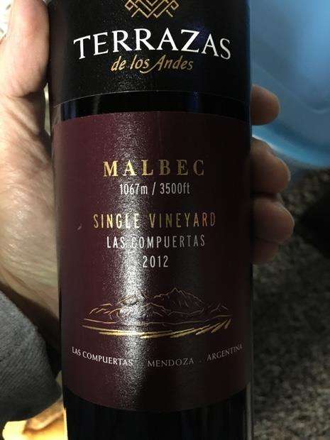 2012 Terrazas De Los Andes Malbec Single Vineyard Las