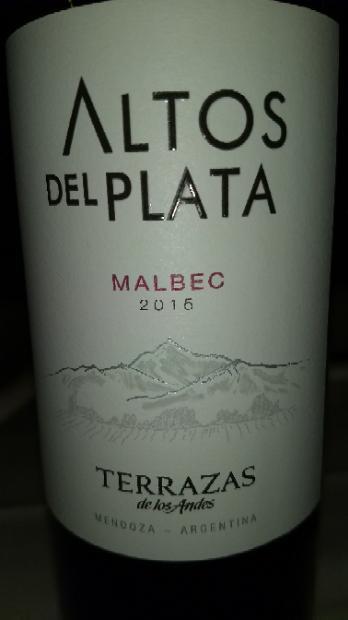 2016 Terrazas De Los Andes Malbec Altos Del Plata Argentina
