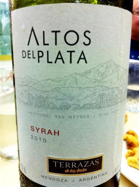 2011 Terrazas De Los Andes Syrah Altos Del Plata Argentina