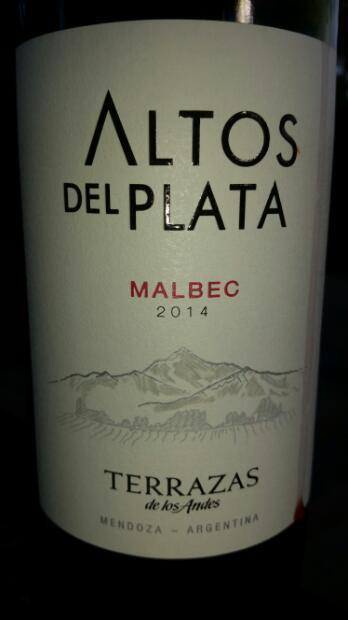 2014 Terrazas De Los Andes Malbec Altos Del Plata Argentina