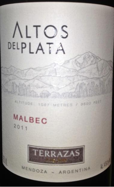 2011 Terrazas De Los Andes Malbec Altos Del Plata Argentina