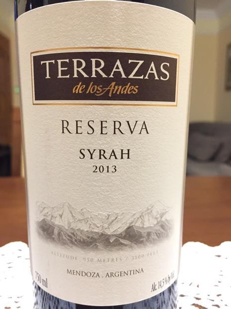 2013 Terrazas De Los Andes Syrah Reserva Argentina Mendoza