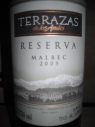 2005 Terrazas De Los Andes Malbec Reserva Argentina