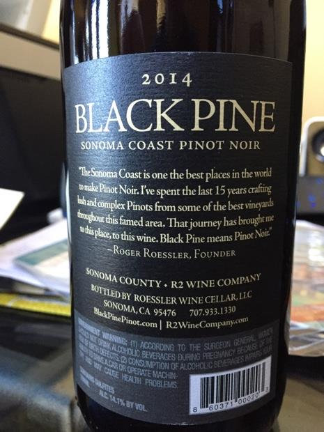 2014 Roessler Pinot Noir Black Pine, USA, California ...