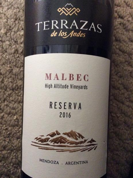 2016 Terrazas De Los Andes Malbec High Altitude Vineyards