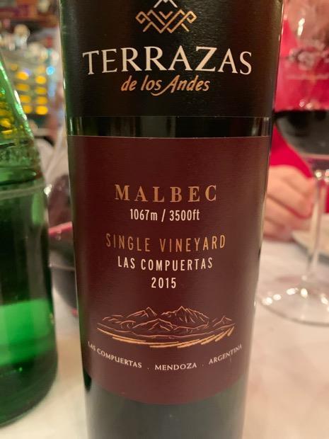 2015 Terrazas De Los Andes Malbec Single Vineyard Las