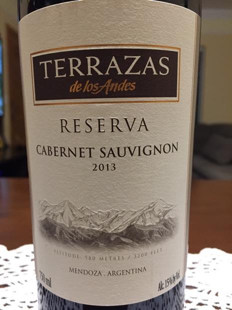 2013 Terrazas De Los Andes Cabernet Sauvignon Argentina