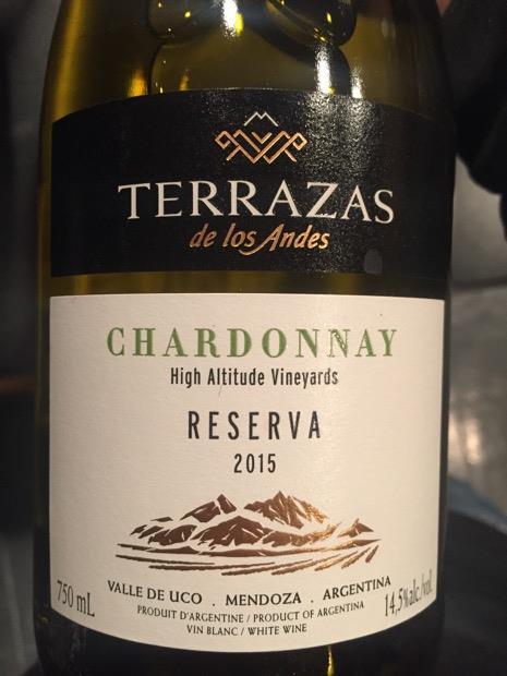 2015 Terrazas De Los Andes Chardonnay Reserva Argentina
