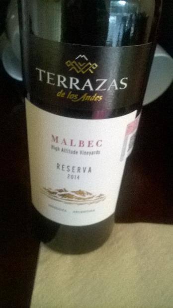 Nv Terrazas De Los Andes Malbec Reserva Argentina Mendoza
