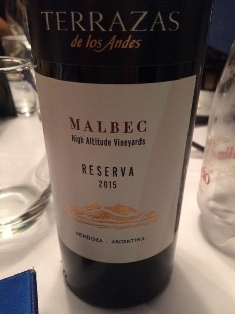 2015 Terrazas De Los Andes Malbec Reserva Argentina