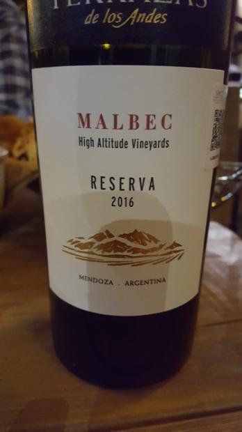 2016 Terrazas De Los Andes Malbec Argentina Mendoza