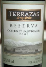2006 Terrazas De Los Andes Cabernet Sauvignon Reserva