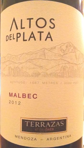 2012 Terrazas De Los Andes Malbec Altos Del Plata Argentina