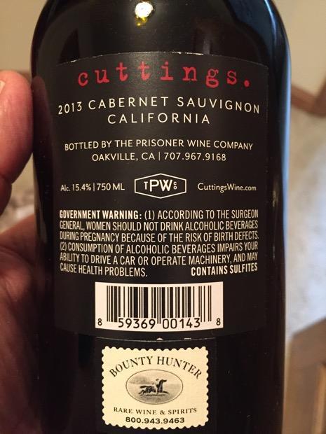2013 Prisoner Wine Company Cuttings Usa California Cellartracker